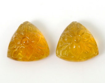 20.50cts 100% Natural Citrine Quartz Gemstone Trillion Shape Hand Carved Both Side Cabochon 15*9h Pair For Earring