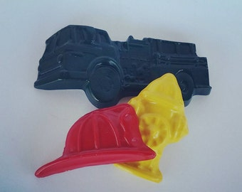 Firetruck Crayons, Fire Station, Fireman Hat, Fire Hydrant, Fireman Party, Party Favors, Boy Gift, Recycled Crayons, Jumbo Crayon, Custom