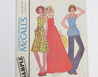 Misses Butcher Apron by McCall's/ Carefree Patterns/ All Sizes Included/ 1970s Fashion