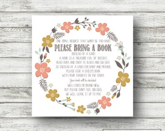 Instant Download Baby Shower Invitation Insert, Please bring a book instead of a card, coral floral design