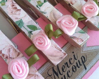 Pink Rose Wooden Clothespins