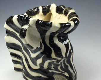 Decorative ceramic glazed ZEBRA vase