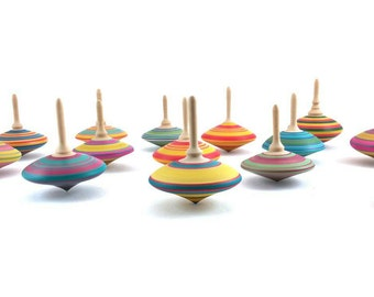 Wooden spinning tops x 3, Spinning top, Woodturning, Coloured Tops, Wedding favors, Party favours bags, Wooden games, SilvanWoodturning