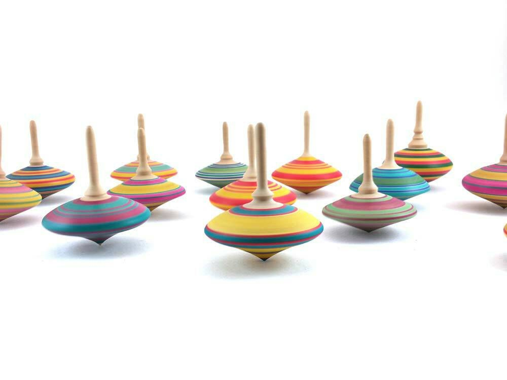 Wooden spinning tops x 3 Christmas stocking fillers