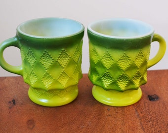 Vintage Green Fire King Kimberly mugs or cups, Set of 2 - Anchor Hocking 1970s hold 8 ounces