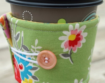 Reusable Coffee Sleeve - Coffee Cozy - Cup Sleeve - Cup Holder - Red Rose - Gift Under 10