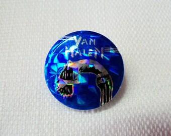 Vintage Early 80s Van Halen - David Lee Roth Blue Hologram Pin / Button / Badge