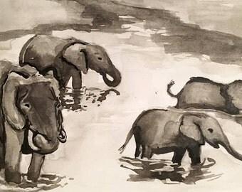 Elephants Swimming Print