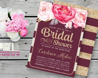 Gold Glitter Bridal Shower Invitation, Autumn Wedding, Rustic Peony, Plum Stripes, Bridesmaids Lucheon, CUSTOMIZABLE & PRINTABLE Invite