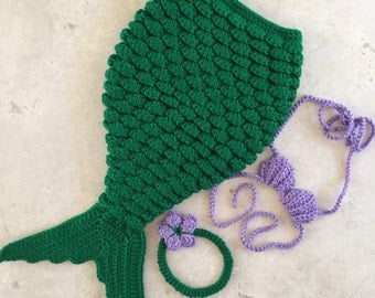 Crochet 3-6 MONTHS Mermaid Photo Prop Outfit for Baby - Costume - Baby clothes - Mermaids - Little Mermaid Inspired colors