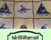 FABRIC SALE!!!  Nautical Ships - Out at Sea Fabric - Coastal Fabric - Beach Decor