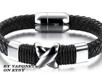 Mens Bracelets - Mens Leather Bracelet - Cool Leather Bracelet - Wristband for Men- Mens Jewelry Gift - Steel Leather Bracelet Mens Bracelet