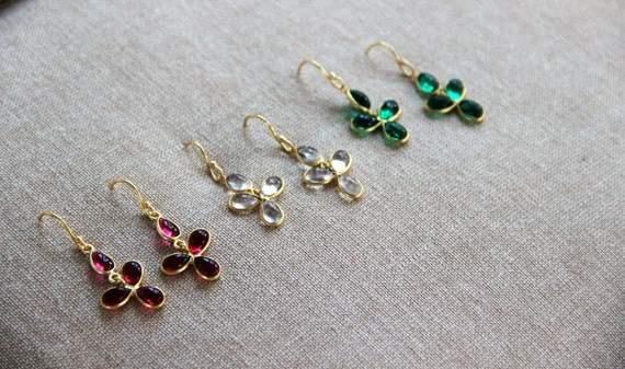 Darling Bezel Gold Chandelier Earrings - Available in Clear, Ruby or Emerald