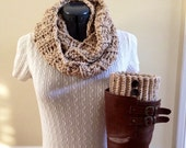 Boot cuff set with infinity scarf - Oatmeal