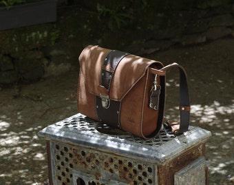 Original shoulder bag, messenger bag or brown leather