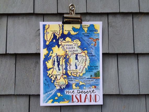 Mt. Desert Island Maine Illustrated Map, 8x10 inches