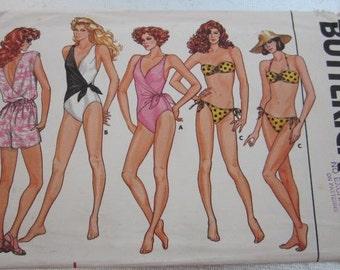 BUTTERICK SWIMSUIT PATTERN No. 3755 Size 14 Jumpsuit Bikini Sewing Uncut 1986