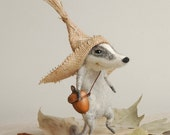 Felted badger, cute badger, needle felt, peasant badger,  felted animal, cute character, felt ornament, soft sculpture,  tender mouse