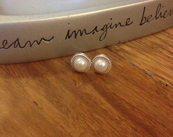 Little Pearl Stud Earrings. Copper Gold Ring Around The Pearl. Nickel Free. Plastic. Light Weight. 10mm. #5