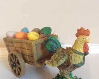 A Rooster Pulling a Cart of Colorful Eggs Cute Porcelain/Resin Figurine.