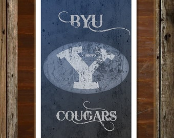 BYU Cougars Map Topographical Sports Print Art 11x17