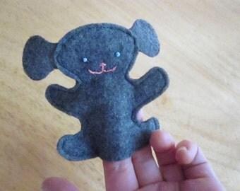 finger puppet-- Gray Dog felt finger puppet -- kids toys