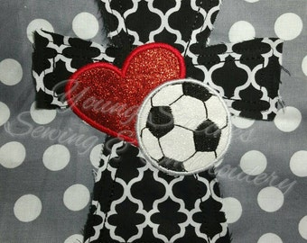Raggy Cross Heart Soccerball 5x7 Embroidery Design