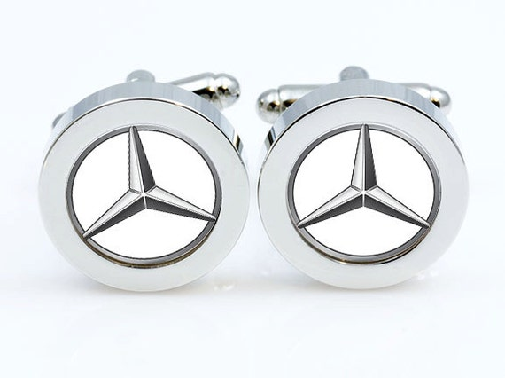 Mercedes benz cufflinkscar logo cuff link men gifts silver for Mercedes benz earrings