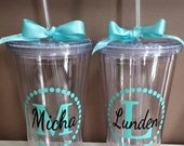 Personalized Monogram Tumbler Vinyl Decal - DIY - Stickers ** Vinyl Only, No Tumbler ** Fits 16oz Tumbler