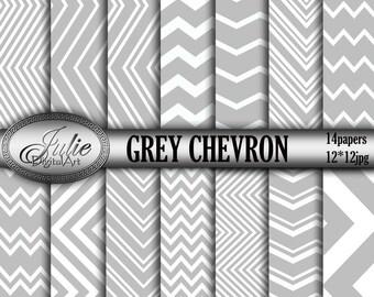 Grey white chevron digital paper, Zigzag Background, Geometric patterns, Instant Download