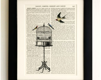 FRAMED ART PRINT on old antique book page - Tall birdcage with birds, Vintage Upcycled Wall Art Print Encyclopaedia Dictionary Page