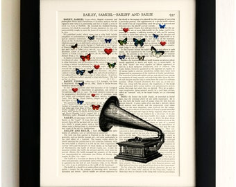 FRAMED ART PRINT on old antique book page - Gramaphone, Butterflies, Hearts, Vintage Upcycled Wall Art Print Encyclopaedia Dictionary Page