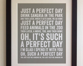FRAMED Lyrics Print - Lou Reed, Perfect Day - 20 Colours options, Black/White Frame, Wedding, Anniversary, Valentines, Fab Picture Gift