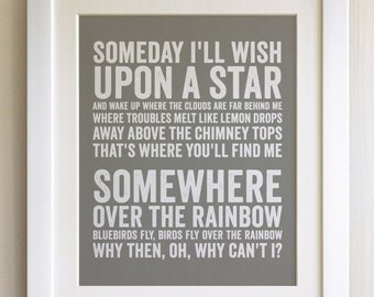 FRAMED Lyrics Print - Judy Garland, Eva Cassidy, Somewhere over the Rainbow - 20 Colours options, Black/White Frame, Wedding, Anniversary