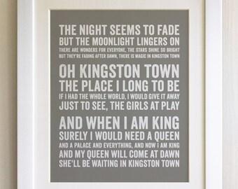 FRAMED Lyrics Print - UB40, Kingston Town - 20 Colours options, Black/White Frame, Wedding, Anniversary, Valentines, Fab Picture Gift