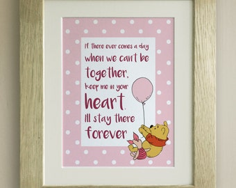 FRAMED Winnie the Pooh QUOTE PRINT, New Baby/Birth Nursery Picture Gift, Pooh Bear, Together, Forever, 4 colours
