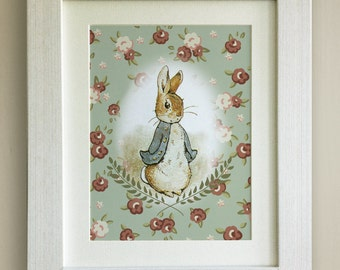 Peter Rabbit Print, New Baby/Birth Nursery Picture Gift, *UNFRAMED* Choice of 4 colours, Lovely Birth or Christening Gift