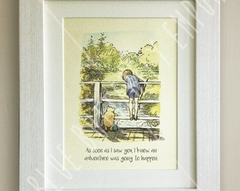 FRAMED Winnie the Pooh QUOTE PRINT, New Baby/Birth Nursery Picture Gift, Pooh Bear, Framed or just mounted, Choice of 3 frames, Christopher