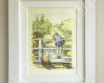 Winnie the Pooh PRINT, Birth, Christening, Nursery Picture Gift, Pooh Bear, *UNFRAMED* Beautiful Gift, Christopher Robin, Bridge