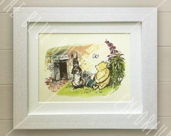 Winnie the Pooh PRINT, Birth, Christening, Nursery Picture Gift, Pooh Bear, *UNFRAMED* Beautiful Gift, Friends, Rabbit