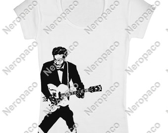 Women's Chuck Berry Rock and Roll Music Band Vintage T-Shirt - 000031
