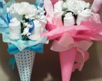 Washcloth baby bouquet, diaper cake, hospital gift, diaper bouquet, bouquet,party favor