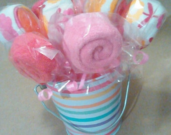 Washcloth Lollipops, diaper cake ,party favor,sweet tooth, candy,lollipops,