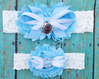 Baby Blue and White Basketball Garter Set | Basketball Wedding Garters | Bridal Garter and Toss Garter