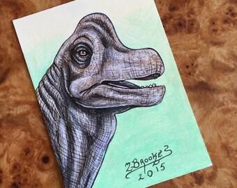 Brachiosaurus Sketch Card - Jurassic Park