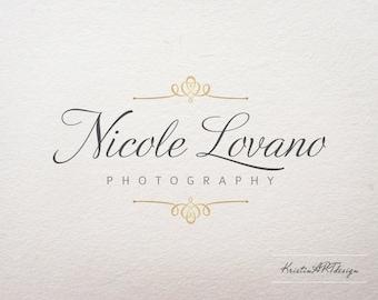 Ornament logo, Premade logo, Photography logo, Gold logo design, Handwritten logo, Watermark 196