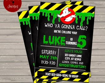 Ghostbusters Themed Birthday Party Invitation - Printable