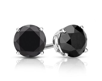 2.50cttw Black Diamond Earrings Studs - Round Brilliant Cut - White Gold