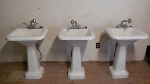 Charming Set Of 3 Cast Iron Pedestal Sinks Circa 1960 Like