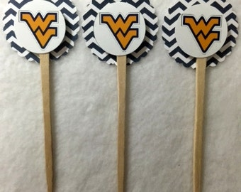 Set Of 12 West Virginia Mountaineers Cupcake Toppers